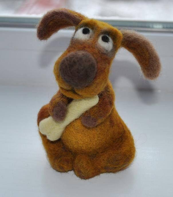 Cute Wool Dog Toy Felt Toys Needle Felting Needle Felted Animals