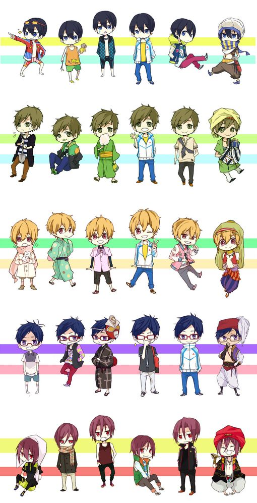 Free! - Iwatobi Swim Club, Free! - Eternal Summer, Ryugazaki Rei, Hazuki Nagisa, Tachibana Makoto, Matsuoka Rin, Nanase Haruka, chibi