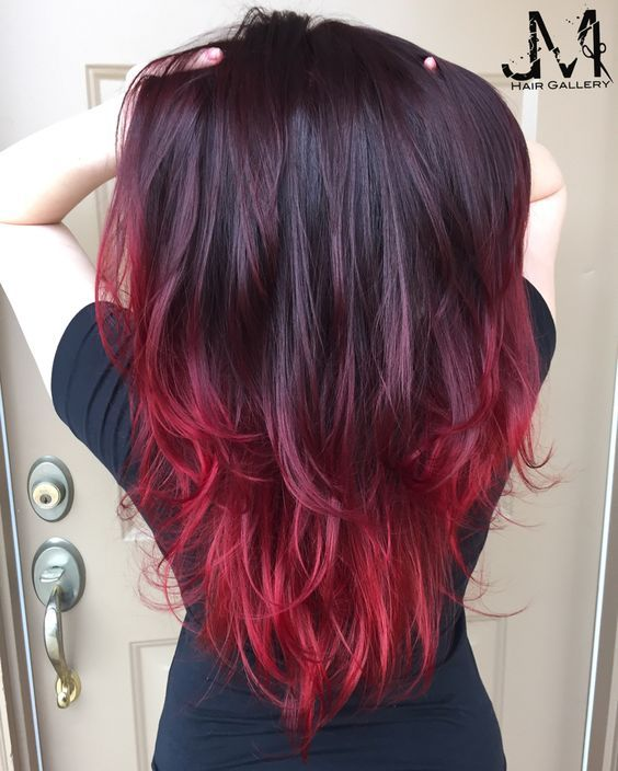 Dark to Red Ombre Hair Style for Long Hair