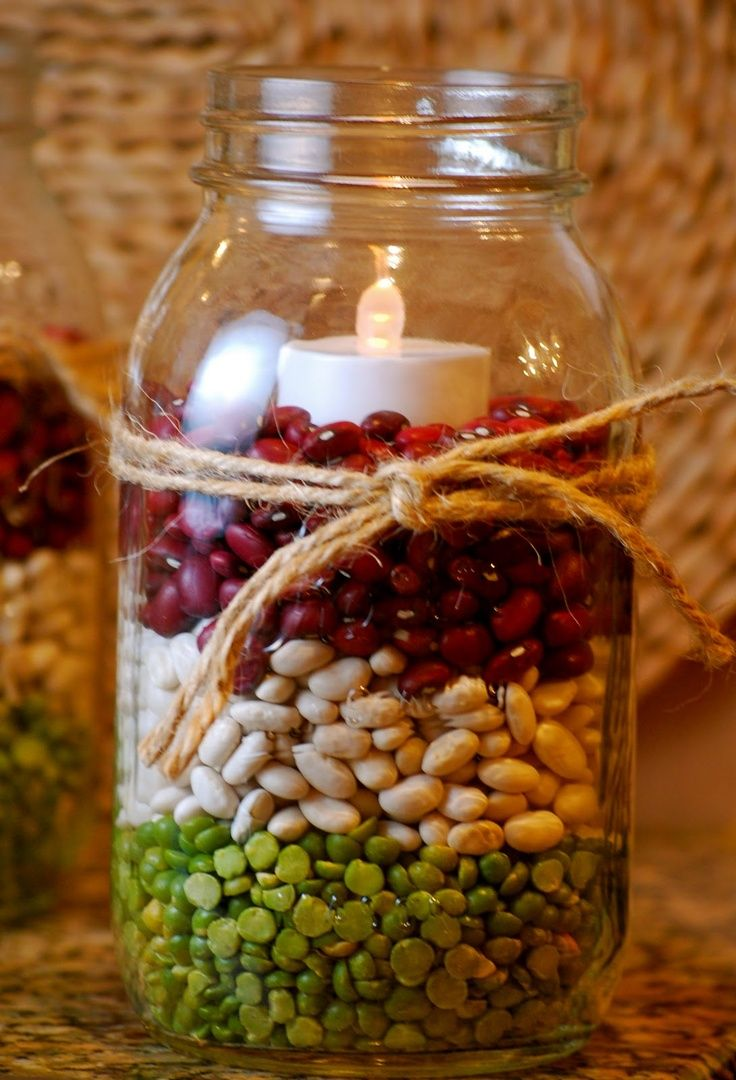 Candle In Dried Beans Mason Jar Christmas Crafts