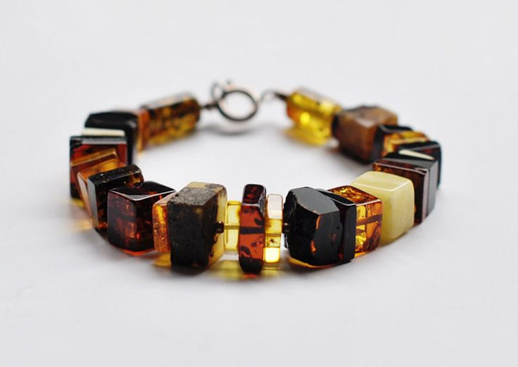 Baltic amber beads bracelet with silver details, massive amber bracelet by CozyAmber on Etsy