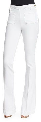 FRAME Le High Patch-Pocket Flare-Leg Jeans, Blanc