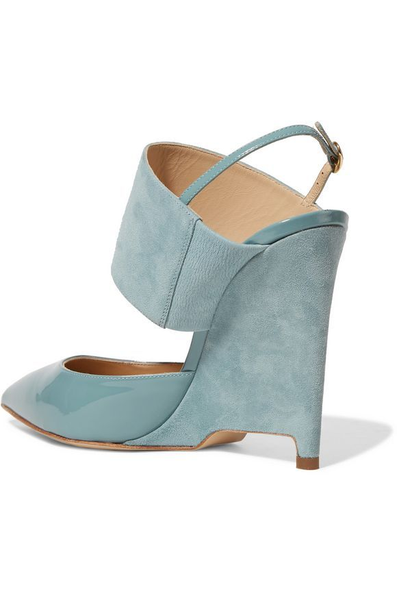 """Paul Andrew """"Elvira"""" sky-blue-suede-and-patent-leather pointed-toe high-wedge-heeled slingback pump featuring cut-out detail on heel"""