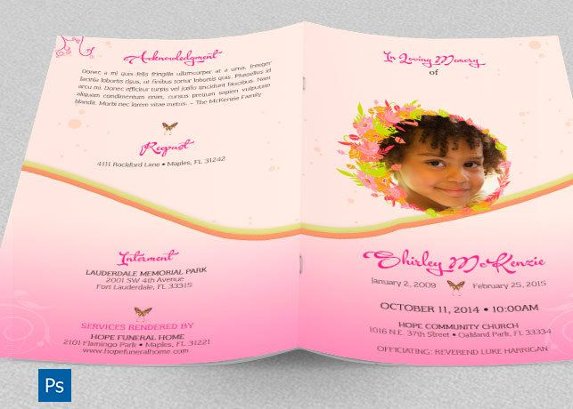 Pink Floral Funeral Program Photoshop Template is for Memorial or Home Going Services for girls. Designed specifically for funerals,  but can be edited for other events.  Floral elements combined with beautiful serif fonts. The files are conveniently easy to use.   This template is a set of Premium