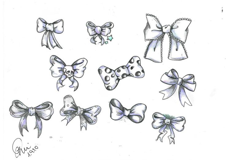 Bow drawing done by me :-) | Bow drawing, Best friend ...  |Bow Tattoo Sketches