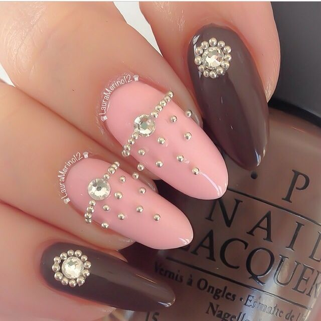 100 best nails images on pinterest hairstyles braids and colors pink and brown nails prinsesfo Image collections
