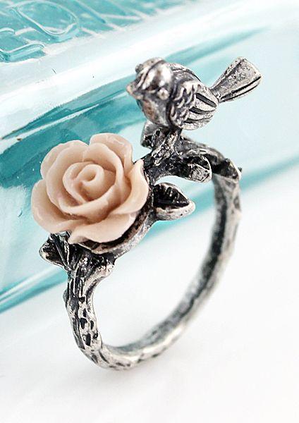 Silver Bird Flower Ring