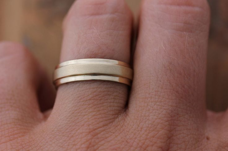 14k Yellow Gold Men's Wedding Band, Slate Band RIng in Solid Recycled  Gold. $728.00, via Etsy.
