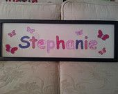 Personalised hand embroidered name frame by EmbroideredGiftsOz