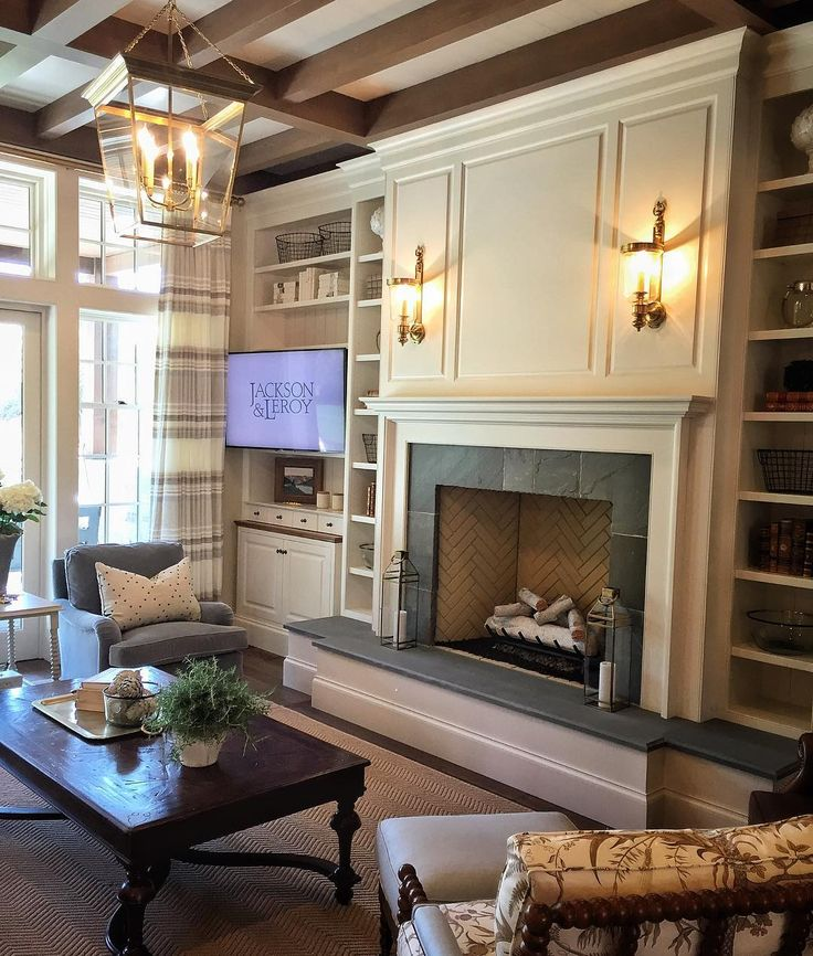 The perfect farmhouse fireplace! #riverhouse @jacksonandleroy @establish.design…