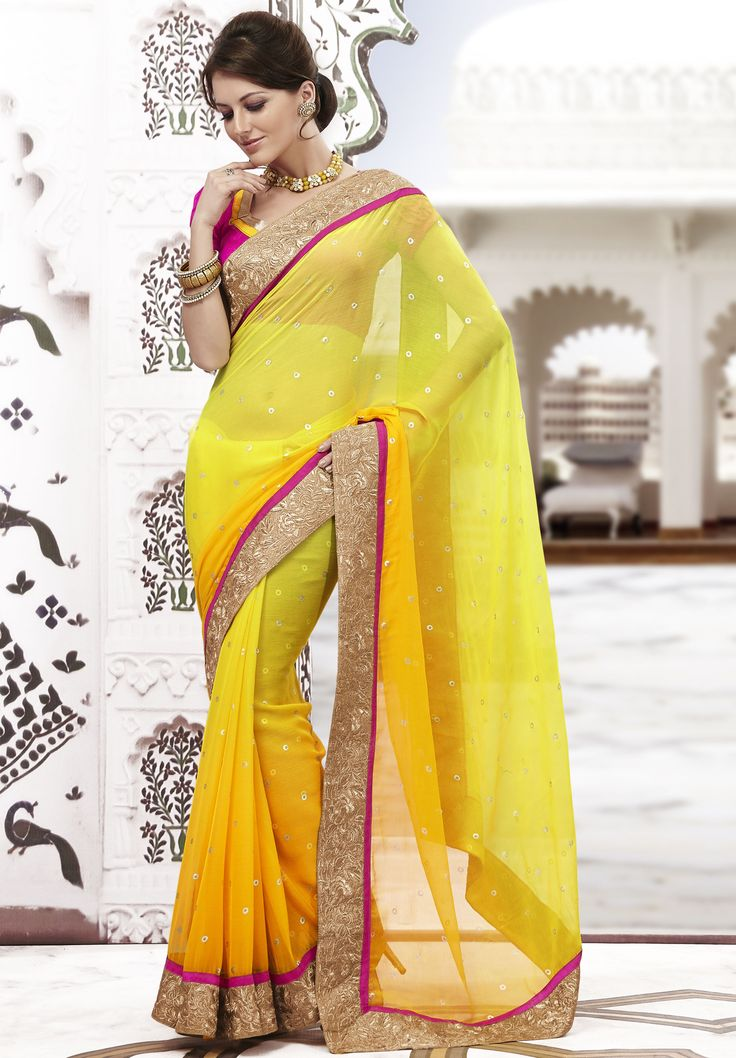 An appealingly beautiful yellow buti chiffon Saree with shimmer golden designer border with piping looks gorgeous with a Bhagalpuri silk blouse in contrast - See more at: http://www.daindiashop.com/women/sarees/designer-sarees/Yellow-chiffon-butidar-Saree#sthash.w73Tv3wA.dpuf