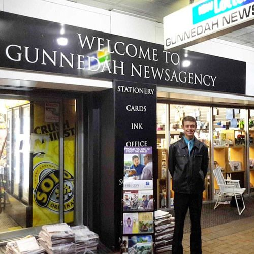 So here I am at the Gunnedah news agency in Australia at 5 o'clock in the morning with the trolley. We are here trying to catch all the miners before they go to work. Good times!""