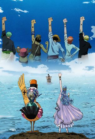 The Straw Hat Pirates raise their fists as a sighn of friendship (duck- Carue, blue-haired girl- Princess vivi, green-haired guy- Zoro, guy with red hat- Chopper, guy with satchel-Usopp(a liar), red-haired girl- Nami, blond-haired guy-Sanji, guy with straw hat-Luffy(captian))