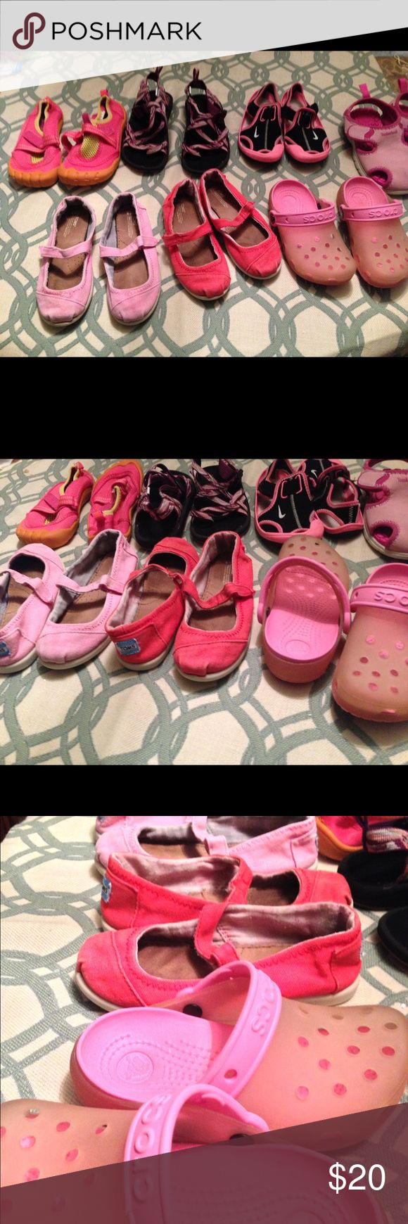 Lot of toddler shoes Toms pink and red worn sz 10,OP brand pink water shoes sz 10/11 , Nike sandals sz 10-11, timberland sandals sz 11, crocs sz 10-11 Various Shoes Sandals