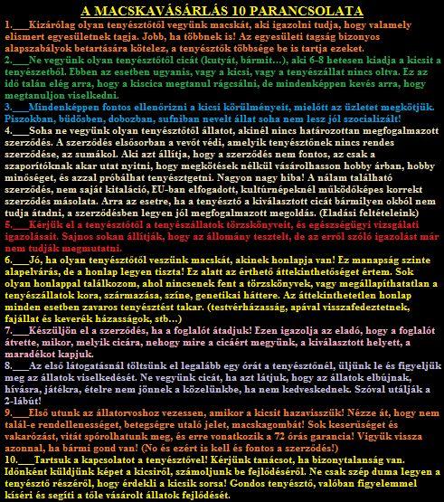 A MACSKAVÁSÁRLÁS Tízparancsolata