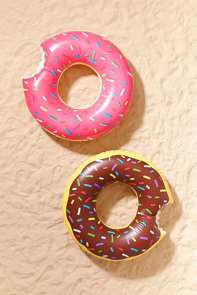 Sweet pool float shaped like a donut. Crafted from heavy-duty vinyl and easy to inflate. Do Not Eat... Will POP:) Content + Care - Vinyl - Wipe clean - Imported Size - Width: 4'