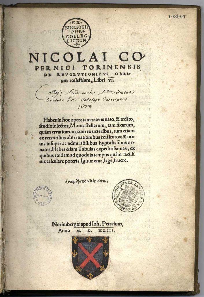 1e éd. de Copernic aux armes peintes de Mitte de Chevrières #astronomie #NicolasCopernic 1543