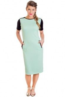 Mint and Black Accent Dress
