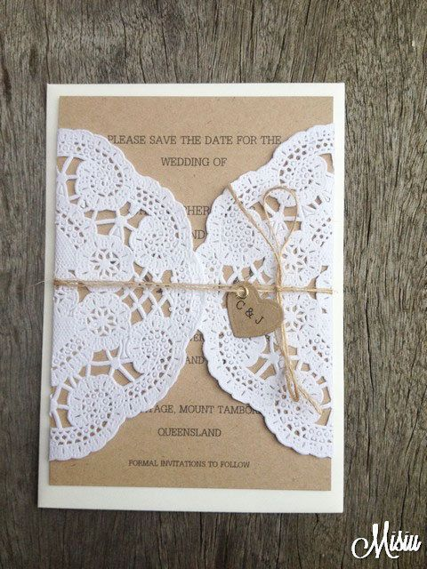 Simply Lace Save The Date Card/Wedding Invitation on Etsy, £2.18