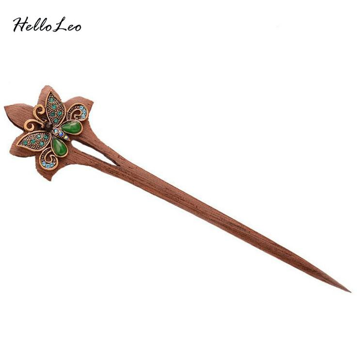 2016 new style Ethnic Wenge Butterfly Hair stick Bob Handmade vintage Women jewelry Chinese hair stick Gift