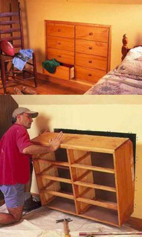 24 Ausserst Kreative Und Clever Platzsparende Ideen Die Ihren Raum Erweitern Flur Wand Kleine Kleinewohnung Schlafzimmer Space Saving Dresser Home Diy Home