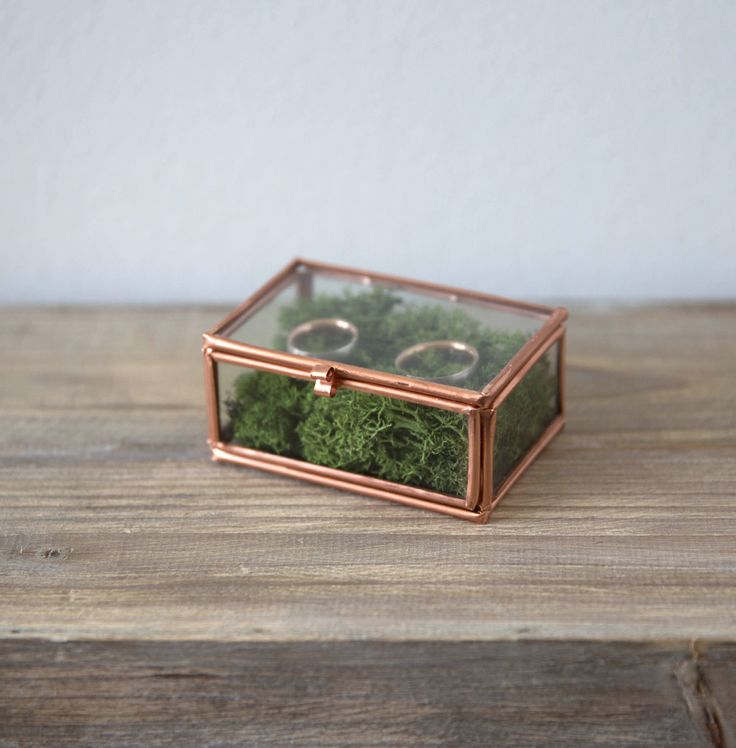 glasbox mit kupfer und moos als ringkissenalternative f r. Black Bedroom Furniture Sets. Home Design Ideas