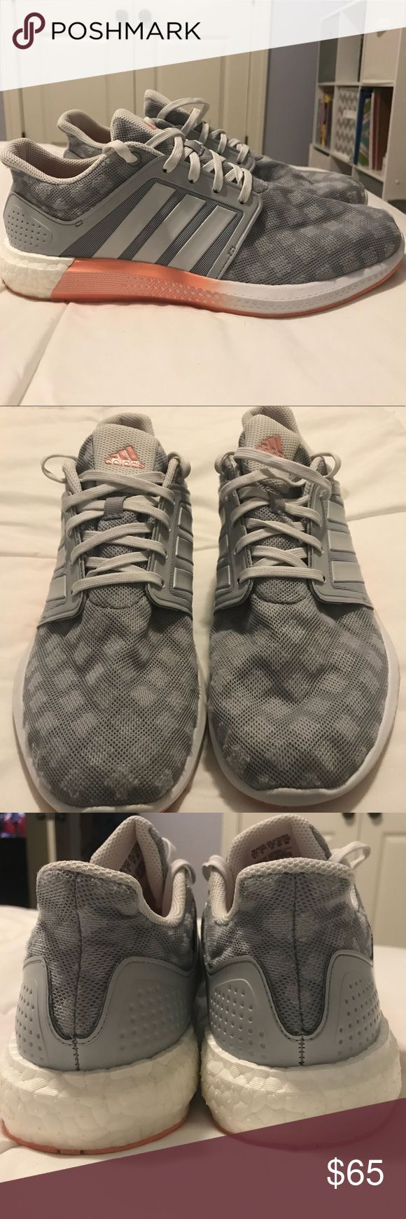 Adidas originals Women's Boost Shoes Super comfortable, casual Adidas shoes. Very stylish. Used but not abused! Worn a handful of times and are in very good condition. Grey with coral and white. Size 9.5 women's. Open to offers:) adidas Shoes Sneakers