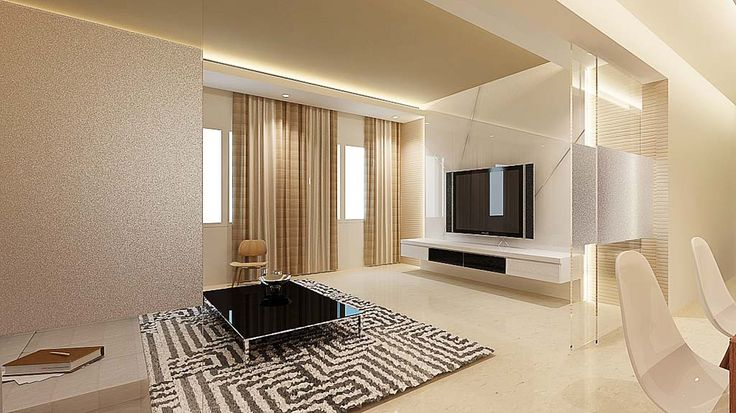 white elegant TV feature wall | Tv feature wall, Living design