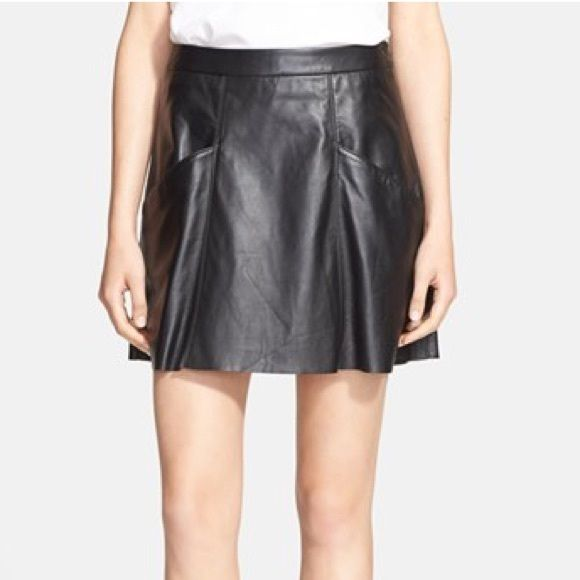 """Joie """"Maisel"""" Leather SkirtNEW Lambskin leather that is buttery soft. Styled with a raw hem. Two slit front pockets, side zip closure, fully lined. 100% Leather.  Purchased from a sample sale. Has a tiny pen mark near the pocket. Low price already reflects the imperfection. Retailed for $498 at Nordstrom. Last two pics are stock photos to show fit. Length is 17"""". Actual color is """"frappe"""" (camel color). Very beautiful!! Joie Skirts Mini"""
