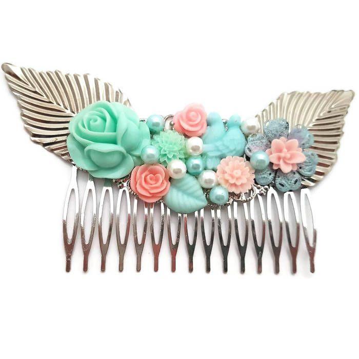 Pastel Wedding Comb-Bridesmaid Comb-Floral Comb-Pearl Comb-Flower Hair Comb-Bobby Pins-Hair Slides-Bridal Hair Clip-Rose Hair Accessory-Bird