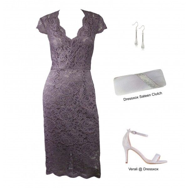 Lavender Stretch Lace Evening Dress