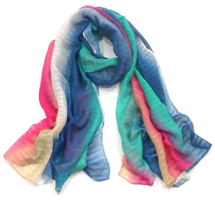 Chèche écharpe rayures tye and dye rose #mesecharpes.com paréos,paréo imprimé,paréo rouge,accessoires de plage,paréos pas cher,mesecharpes.com