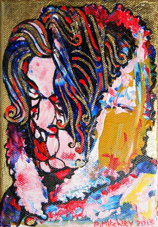 'Madame'  Mixed Medium on canvas  13cm wide x 17cm high x 2cm deep