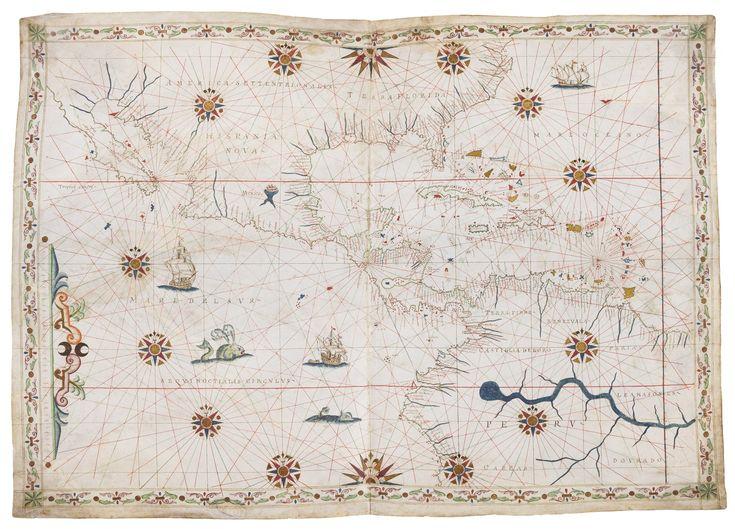 Magnificent Portolan chart of Central America