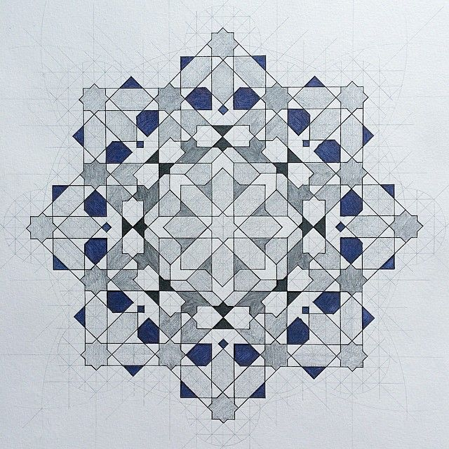 second zellig pattern for this week | with the help of a scratchy fountain pen in blue