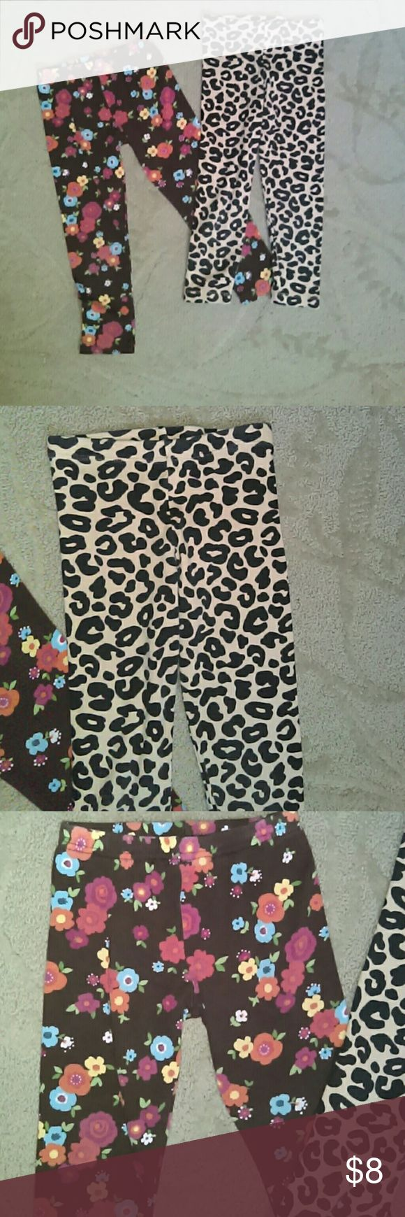 Girls 4t leggings..2 pairs 1 pair brown leggings with blue and yellow flowers...2ND pair brown and black leopard print. Gymboree Bottoms Leggings