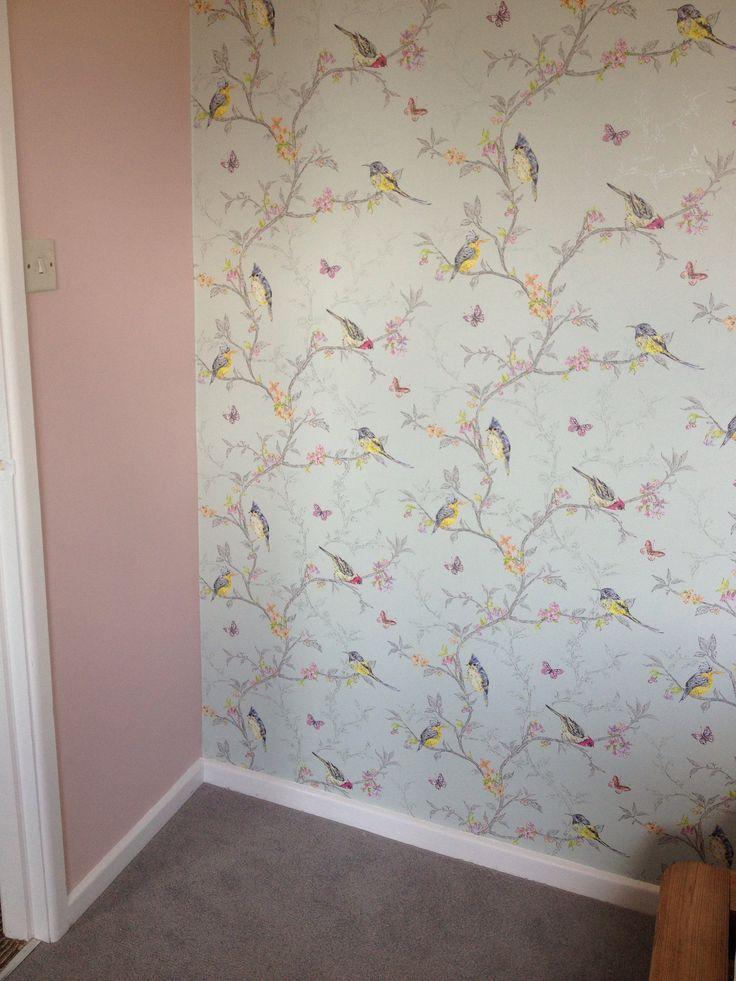 Duck egg blue bird wallpaper interiors pinterest