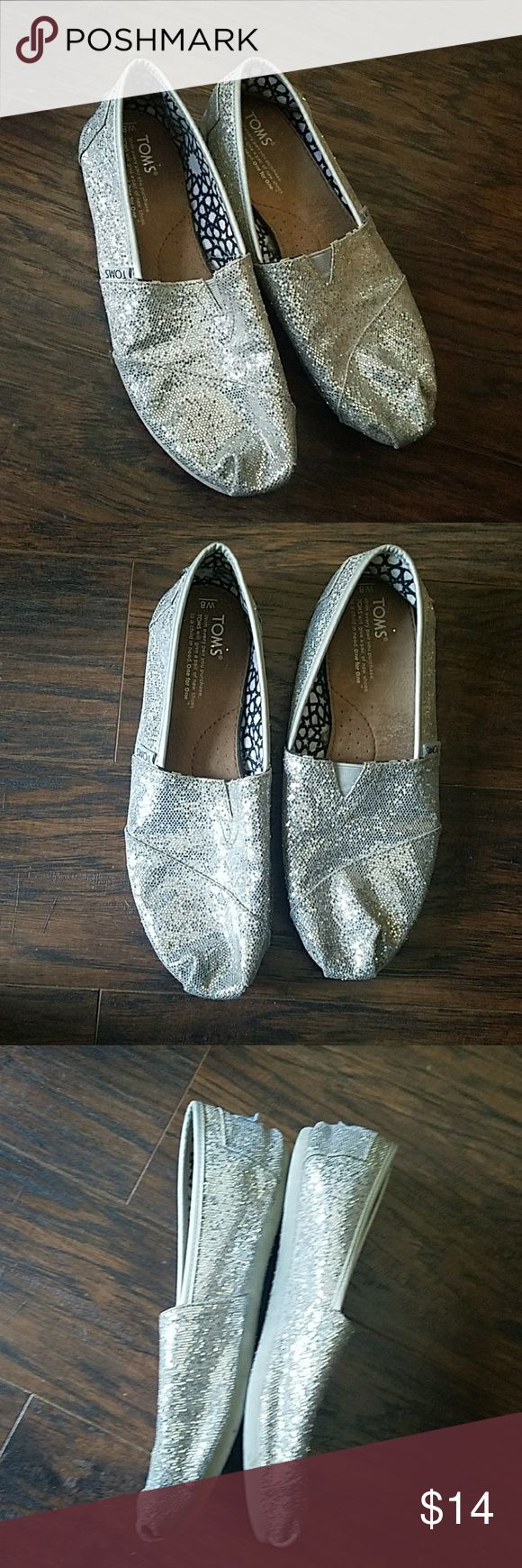 Silver Glitter Toms Size 8 Silver Glitter Toms Size 8 Shoes Flats & Loafers