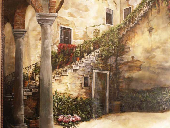 Courtyard Murals Detail Italian Courtyard Oil Painting