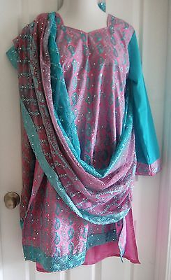 pakistani indian shalwar kameez SALWAR CHURIDAR XL SIZE 48 plus xxl PINK