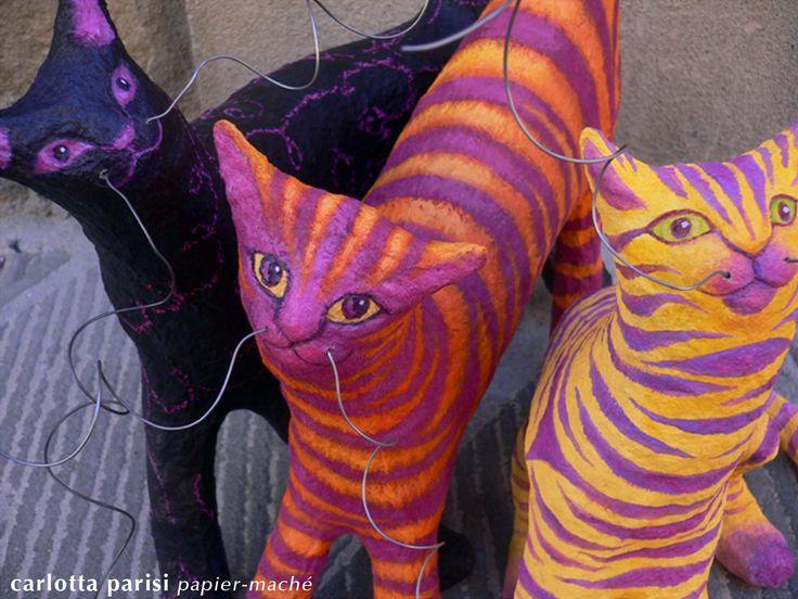 Trio di Gatti baffuti - I miei primi gatti per la mostra di Monticchiello 2009.