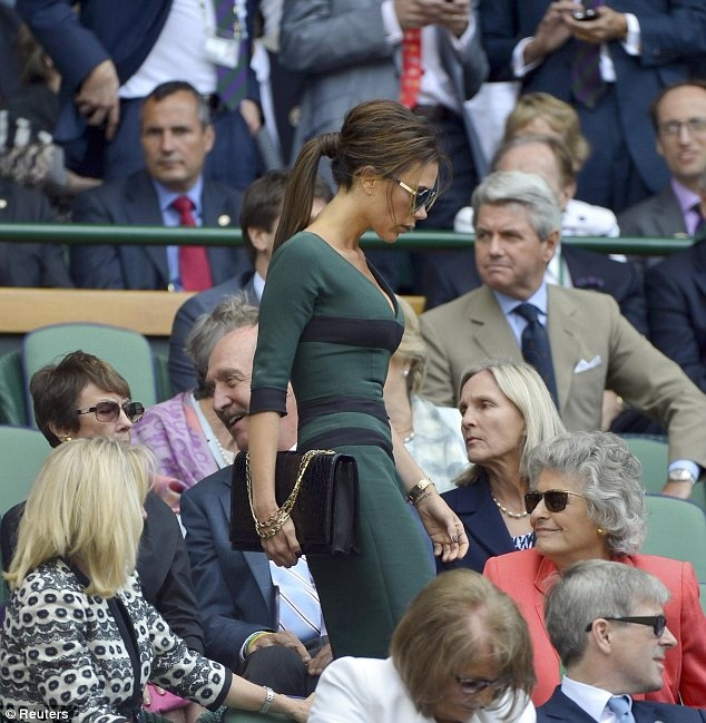 Product placement: The fashion designer showed off a green and black dress of her own designer and was toting a handbag by her label too: Celebrity Moms, Fashion Designer, Celeb Styles, Victoria Beckham Flawless All, Posh Spice Ponytail, David Beckham, Celebrity Fashion, Beauty, Black Dress