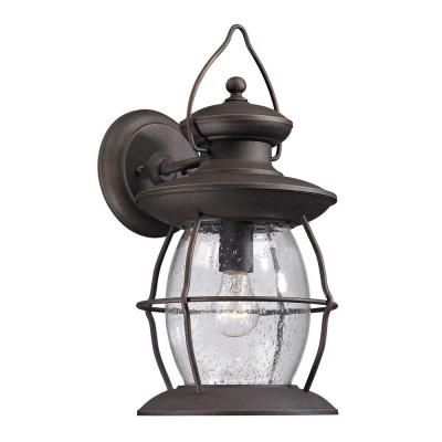 Big Oak Forge Collection 1 Light Weathered Charcoal Outdoor Sconce