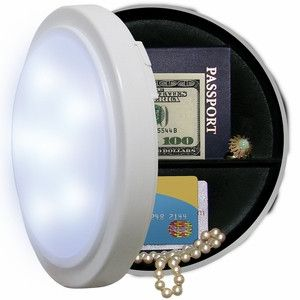 "Closet Light Hidden Safe. This clever diversion safe looks and performs exactly like a closet light, but on the inside your valueables are hidden. Perfect for cash, jewelry, and more! - Measures 8"" in                                                                                                                                                                                 More"