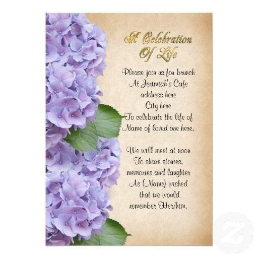 18 best celebration of life invitations images on pinterest celebration of life invitation hydrangea stopboris Choice Image