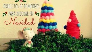 Arbolitos DIY de pompones parar decorar en Navidad