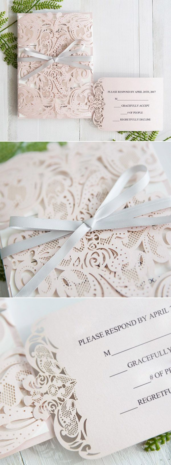 fairytale bridal shower invitation wording%0A Elegant Blush Pink Laser Cut Wedding Invitation With Gray Band SWWS
