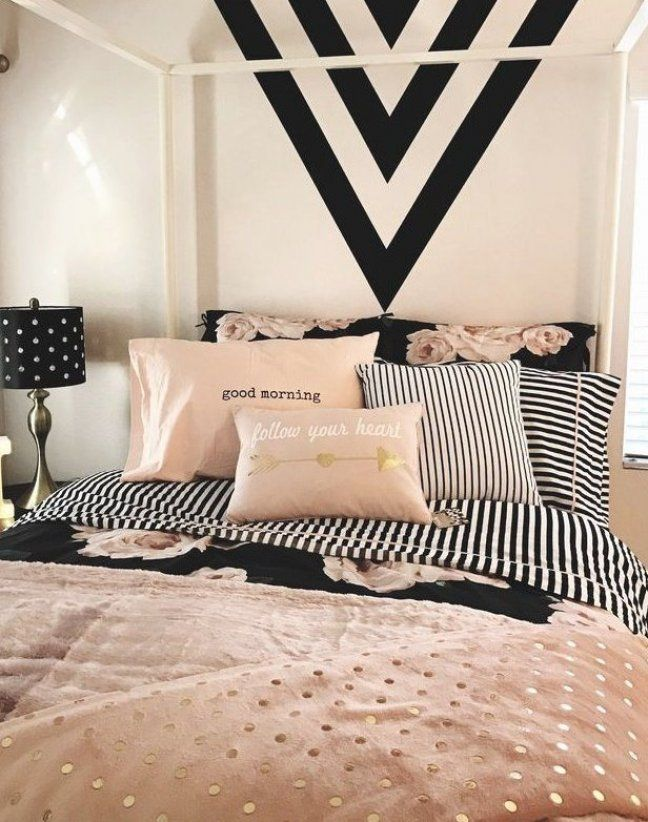 Dusty Rose And Black Bedroom Black And White Striped Bedding Black Accent Wall Stripes Apartment Bedding Bedroom Black Gold Bedroom