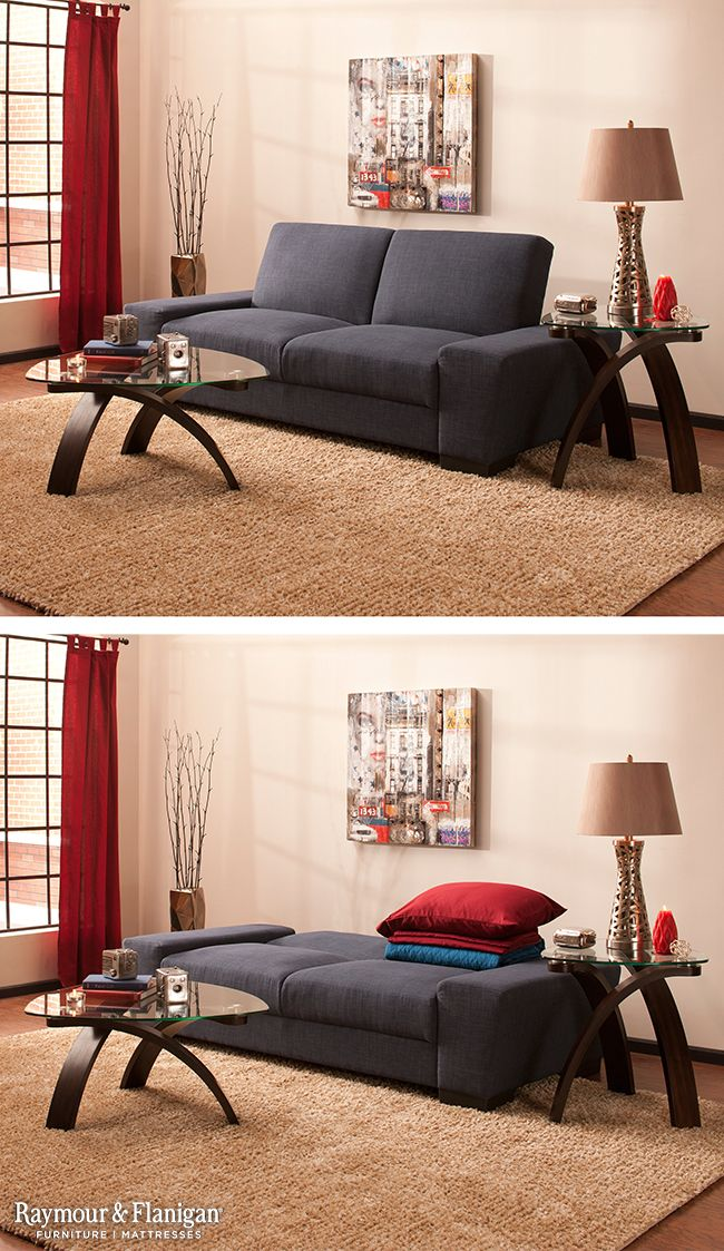 Perfect for apartment living or a dorm suite, this multitasking Ryder microfiber full klik klak sleeper does it all! It's a comfortable sofa to hang with friends during the day, and easily folds down for guests at night.