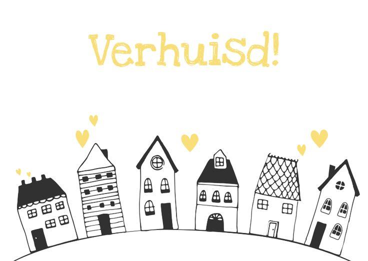 Verhuiskaart getekende huisjes - SV, verkrijgbaar bij #kaartje2go voor €1,89